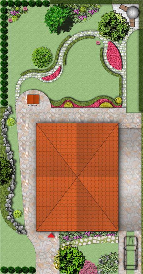 Зелени площи пред къща, кв. Горубляне [1]